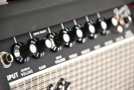 black guitar amplifier with switches and knobs Stock Photo - 7379455