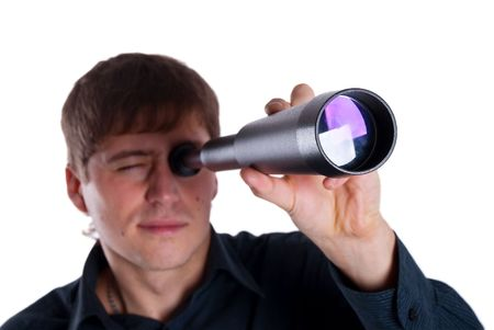 optical people person planet: man looking through a telescope isolated on a white background Stock Photo