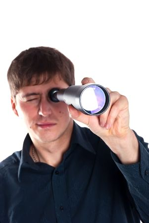 man looking through a telescope isolated on a white background photo