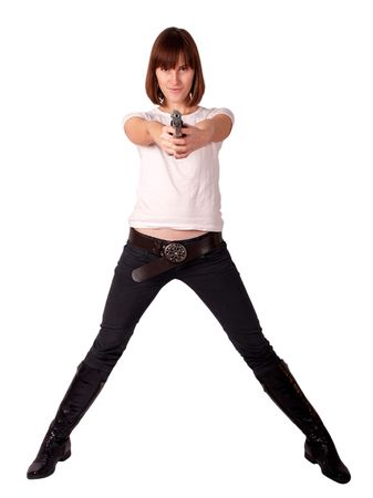 woman with gun isolated on white photo