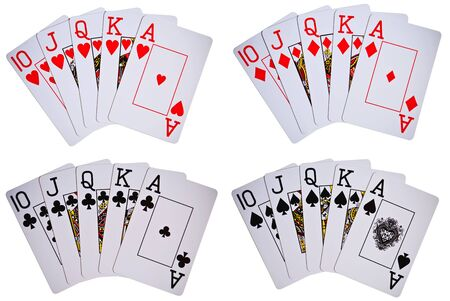 playing cards showing royal flush isolated on white