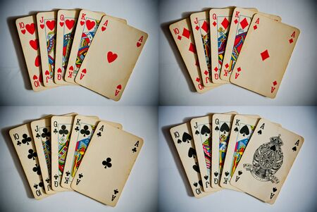 playing cards showing royal flush