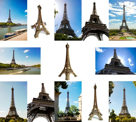 set of different pictures of Eiffel Tower photo