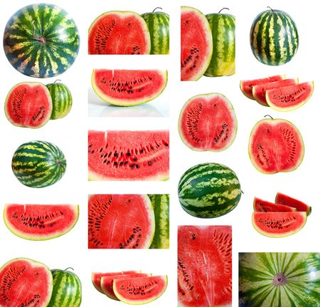 set of watermelons isolated on a white background photo