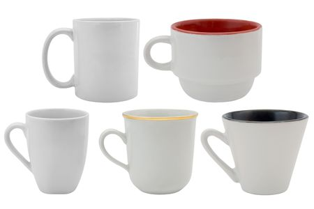 set of white cups isolated on a white background photo