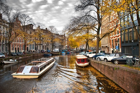 boat in the canal in Amsterdam