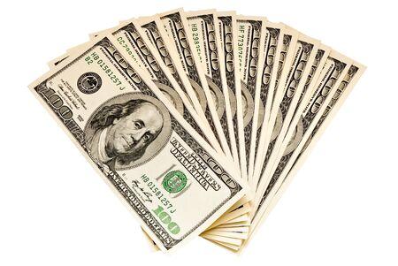bundel van dollars geïsoleerd op wit