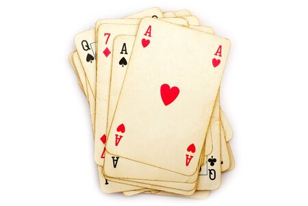 poker cards: playing cards isolated on white Stock Photo