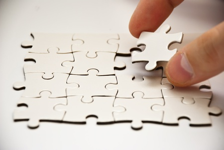 puzzle pieces with missing peace Stock Photo