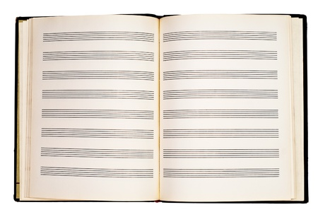 notebook for musical notes isolated on a white background photo