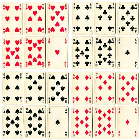 kaarten collectie geïsoleerd op een witte backgraund Stockfoto