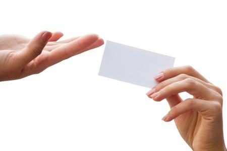 hand business card: scheda vuota in una mano isolata su uno sfondo bianco Archivio Fotografico