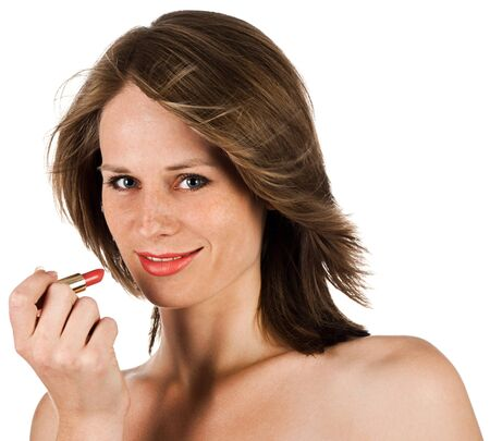 pretty young woman with lipstick photo