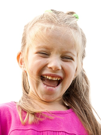screaming girl isolated on a white background photo