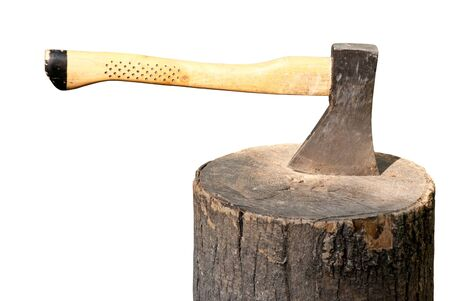 axe in a wooden stump isolated on a white background photo