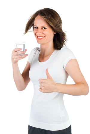 woman drinking water and giving thumb up photo