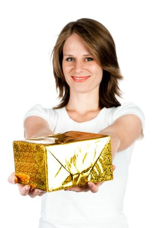 woman with gift isolated on a white background photo