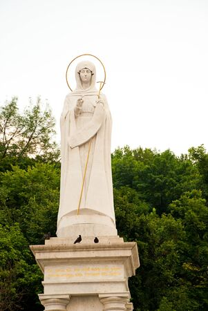 mother mary statue with green trees outdoors photo