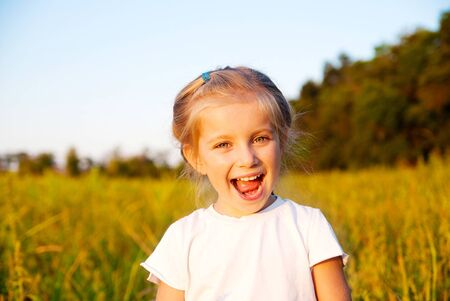 portrait of beautiful little girl in a meadow photo