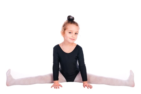 acrobat gymnast: girl gymnast isolated on a white background