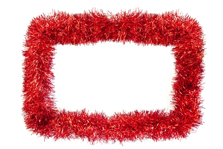holiday garland: christmas tinsel frame with space for text
