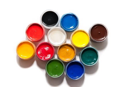 blue top: paints isolated on a white background