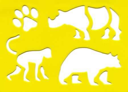 animal silhouette isolated on yellow background photo