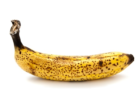 banana skin: rotten banana isolated on a white background Stock Photo