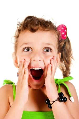 surprised girl on a white background Stock Photo