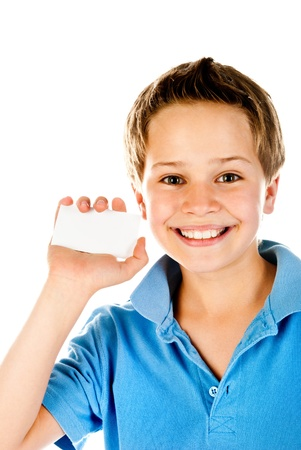 business card in hand: little boy holding empty card Stock Photo