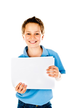 people holding sign: boy holding empty sheet of paper Stock Photo