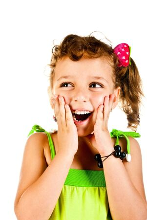little girl child: surprised girl on a white background Stock Photo