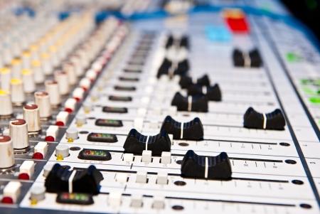 audio mixer: music mixer in studio closeup
