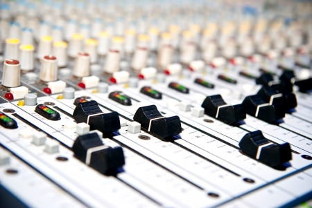 music mixer in studio closeup photo