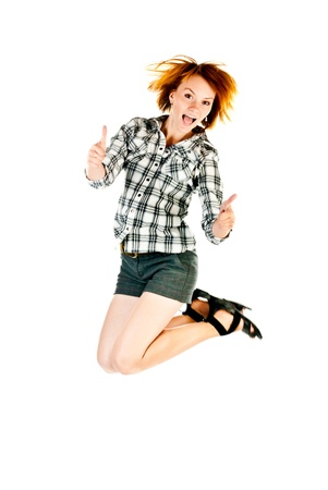 jumping woman isolated on a white background Stock Photo - 15199418