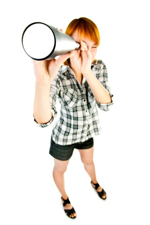 woman with telescope isolated on a white background