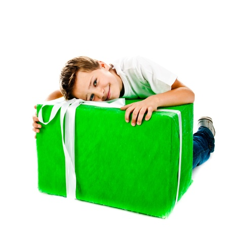 boy with gift isolated on a white background photo