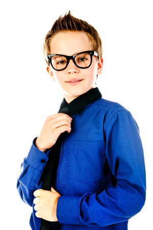 hair tie: fashion little boy with glasses Stock Photo