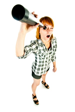 woman with telescope isolated on a white background Stock Photo - 15199417