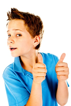 little boy giving a thumbs up photo