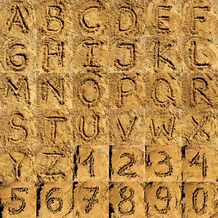 sand alphabet collection of letters and numbers