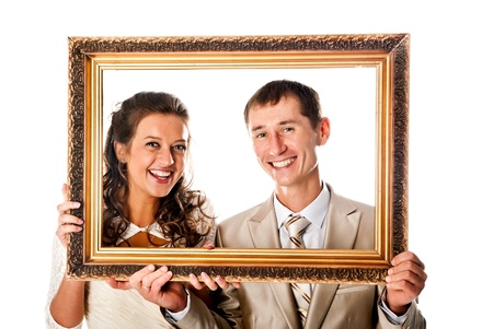 bride and groom in the frame Standard-Bild