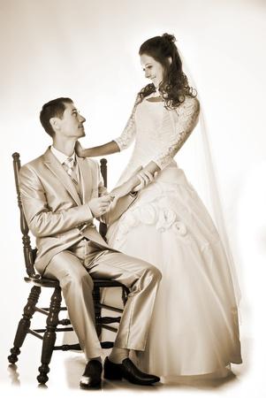 bride and groom studio shot Stock Photo - 16008351