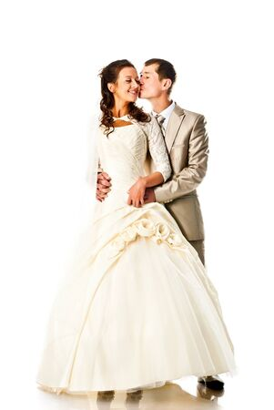 bride and groom isolated on a white background photo