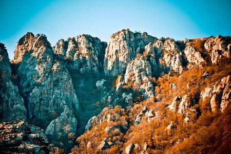 crimean: crimean mountains with blue sky Stock Photo