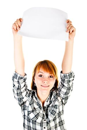 woman holding empty sheet of paper photo