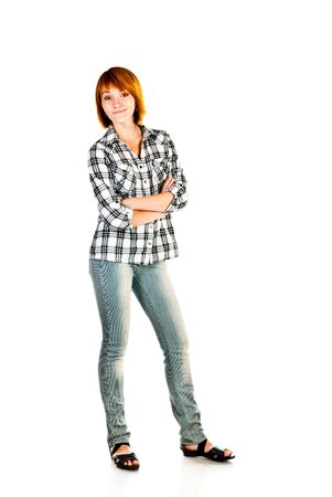 young woman isolated on a white background photo