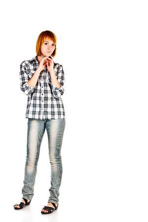 foxy girls: giovane donna isolato su uno sfondo bianco