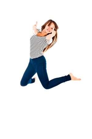 jumping woman isolated on a white background photo