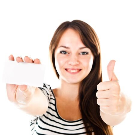young woman holding empty card Stock Photo - 16686367